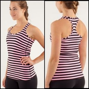 {2} Lululemon Pink Black Striped Racerback Tank